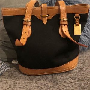Dooney and Burke Black and Tan Bucket Bag